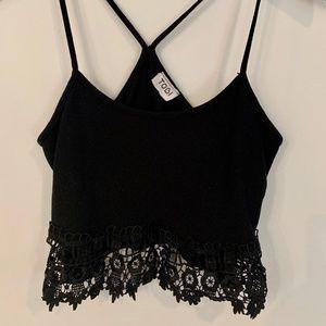 Tobi Tops - TOBI Black Lace Crop Top